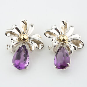 Tiffany & Co. Sterling Silver & Gold Amethyst Ribbon Retired Earrings with Box