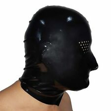 Brand New Latex Black Open Rubber Gummi Hood Mask (one size)