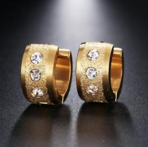 18K Gold Plated Cartilage Cubic Zirconia Ear Huggie Clicker Stud Hoop Earrings