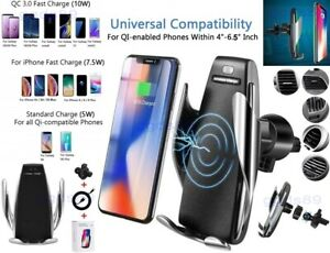 Fast Qi QC Wireless Car Charger Phone Holder iPhone 8X XS XR Samsung S6 S7 S8 S9