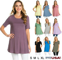 Womens Basic Short Sleeve Solid Scoop Neck Soft Tee Shirt Tunic Top S M L XL USA