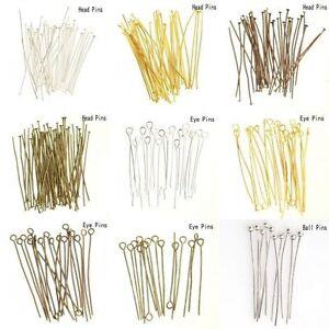 100pcs Silver Golden Head/Eye/Ball Pins Finding 21 Gauge