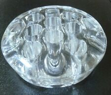 "Vintage Clear Glass 13 hole 4 1/2"" heavy(1 1/2 lb) Floral Frog"