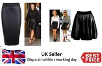 Womens Wet Look Faux Leather Ladies Pencil Stretch Mini Midi Skirt Plus Size New