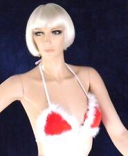 Träger Top, Feuer Rot mit Weiß, Neckholder, Triangel Bikini Oberteil, Gr. S-L