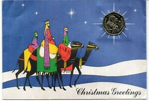 Gibraltar 1990 Christmas 50p coin in card. Very fine. Uncirculated coin.