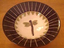 "Dragonfly Pottery Bowl Brown Green Artisan Made Handmade 3D Serving 9"" P1"