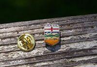 Alberta Canada Flag Gold Tone Metal & Enamel Tie Tack Hat Lapel Pin Pinback