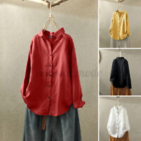 Women Long Sleeve Blouse Tee Top Cotton Linen Ladies Button Down Shirt Plus Size