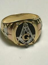 Masonic 18K Gold Men's Vintage Freemason's Ring Onyx Size 12.75 10.9 grams