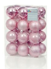 24 x Large Pink Baubles 6cm Christmas Tree Decorations Glitter Matte & Shiny