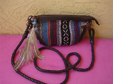 OLD TREND + FREE PEOPLE Tapestry Cross Body Boho Handbag Feather Braided Strap