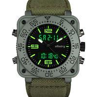 INFANTRY Mens Digital Quartz Wrist Watch Chronograph Alarm Tactical Green Nylon