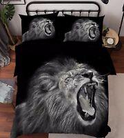 3D Funny  Lion 1 Bed Pillowcases Quilt Duvet Cover Set Single Queen King Size AU