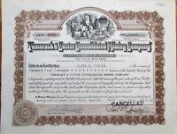 Tamarack & Custer Consolidated Mining Company 1946 Stock Certificate - Nevada NV