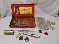 vintage Gilbert Erector metal toy lot #7 1/2 in metal case Reversing Boiler USA