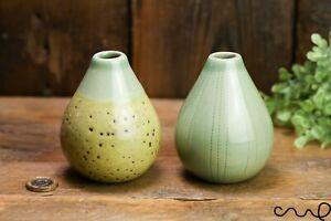 Handmade Set 2  Small Green Ceramic Single Bud Flower Vases Gift Gloss