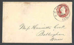 1853 U1 Used Entire 3c Red On White Die 1 Size 7 Chicago Cancel