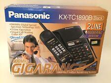 Panasonic KX-TC1890B Black 2 Line Answering Systek 900 MHz Cordless Phone Vintag