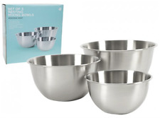 Stainless Steel 3pc Non-slip Mixing Bowl Set Bowls Nest for Easy Storage Kitchen
