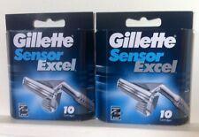 2 X Gillette Sensor Excel Razor Shaving Blades 10 Pack Genuine (20 Blades Total)