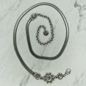 Brighton Vintage Silver Tone Crystal Flower Belly Body Chain Link Belt Size M