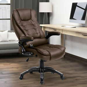 PU Leather Office Chair W/Massage Function, High Back-Brown