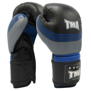 TMA Boxing Gloves MMA Muay Thai Martial Arts Punching Fighting Blue Kick