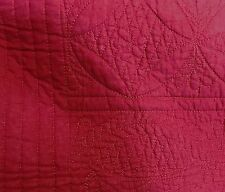 Pottery Barn Hanna FULL QUEEN quilt dark hibiscus red pink