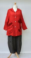 """STUNNING LINEN QUIRKY HOODED APPLIQUE JACKET**RED**BUST UP TO 48"""" Size XL"""