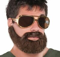 Hungover Beard Adult Neat Brown Beard Moustache Elastic Strap Guy Facial Hair