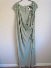 ALEX EVENINGS DRESS WITH BEADING WOMEN PLUS SIZE 22W GREEN NEW WITH TAG $200.00!