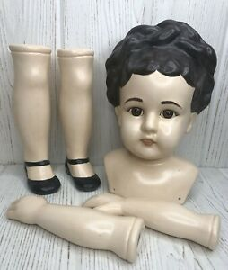 "5 Doll Body Parts Large Ceramic Porcelain 9.5"" Head 6.75"" Arms 8"" Legs Girl"