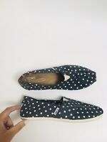 Women's TOMS Natural/Navy Polka Dot Canvas Classic Slip-On Shoes Size 6.5