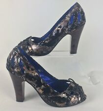 "POETIC LICENCE Size UK 6 Peep Toe Multi Coloured Shoes 4 ""Heel"