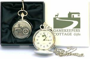 Grey Fergie Vintage Tractor  Pocket Watch Gift Boxed