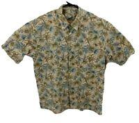 Tori Richard Mens Short Sleeve Hawaiian Shirt XL Tan Leaves Floral Cotton Lawn