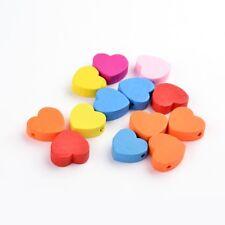 LOT de 22 jolis COEURS PERLES en BOIS HEART 18 x 16mm - 7 couleurs éclatantes