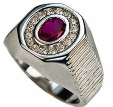 2.5 carat oval Ruby simulated mens ring 18k white gold overlay 13
