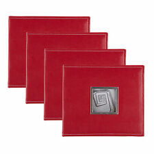 Sleek Faux Leather Red 8x8 Scrapbook, Set of 4 by DesignOvation