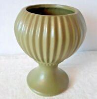 """McCoy Pottery Floraline Florist's Vase Round Ribbed #407 Matte Green 1960""""s VTG."""
