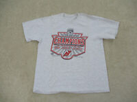 VINTAGE New Jersey Devils Shirt Adult Large Gray Red NHL Hockey Stanley Cup Mens