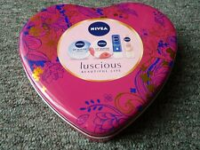 Nivea Pink Heart Shaped Metal Tin Storage Box & A Small Red Heart Shaped Tin VGC