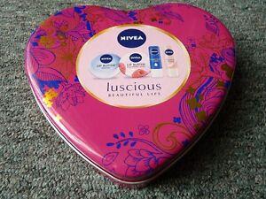 Nivea Pink Heart Shaped Metal Tin Storage Box & A Small Red Heart Shaped Tin VGC