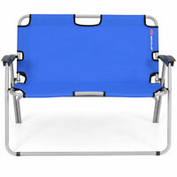 Outdoor 2 Person Folding Bench Portable Loveseat Chair Camping Picnic Blue