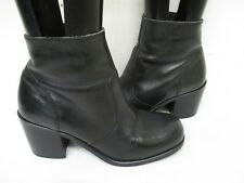 Euro Club Black Leather Zip High Heel Ankle Boots Womens Size 7.5 B Style 97465