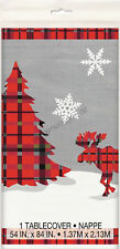 Christmas Xmas Party Decoration Rustic Plaid Plastic Table Cover Tablecloth Red