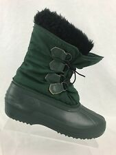 Sorel Women's Winter Boots Shoes Size 7 Waterproof Green Fur Faux Snow