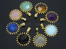 Natural Gemstone Sun Reiki Chakra Healing Pendant Charm Beads Stainless Steel