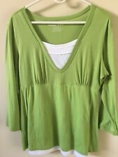 Teez-Her Lime Green Womens Shirt size L Light Tummy Control 100% Cotton Shell